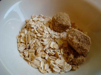 Ingredients for 1 Minute GF Vegan Apple Crumble in white bowl