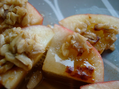 Close up of crumbles on apples