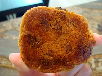 Backside of Peanut Butter Caramel Chocolate Chip Cookie