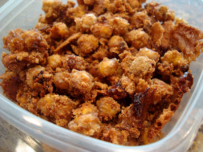 """Finished Cinnamon Sugar Peanut Buttery Chickpea """"Peanuts"""" with Peanut Flour in clear container"""