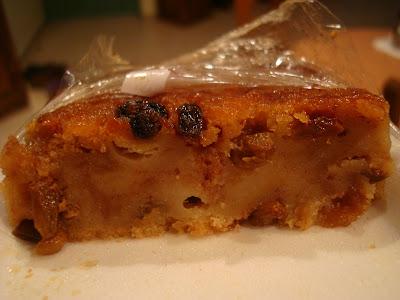 Slices taken out of raisin cake
