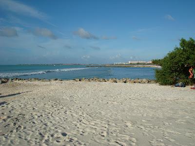 Beach overlooking into water