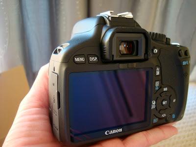 Hand holding camera showing back digital display