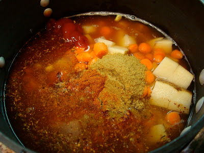 Spicy Vegetable, Corn, & Bean Soup ingredients in pot