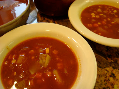 Close up of two bowls of Spicy Vegetable, Corn, & Bean Soup