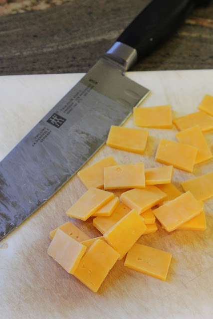 Cut up cheese slices
