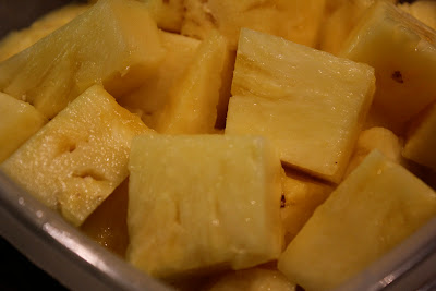 Diced up pineapple pieces
