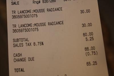 Lancome receipt: total - $65.25