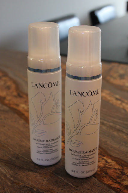 Two bottles of Lancome's Mousse Radiance Clarifying cleanser