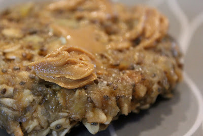 Side of Microwave Banana Oat Cakes with peanut butter