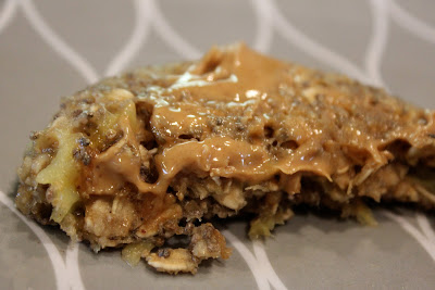 Half a Microwave Banana Oat Cake with peanut butter