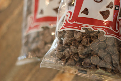 Side view of stacked chocolate chip bags