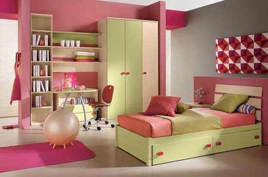 decoration kids bedroom design with beautiful colors combination