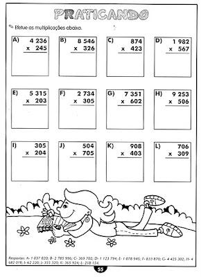 Atividades de matemática - 4 ano
