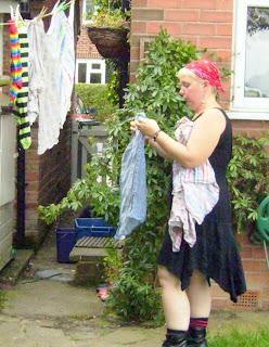 Mel hanging laundry