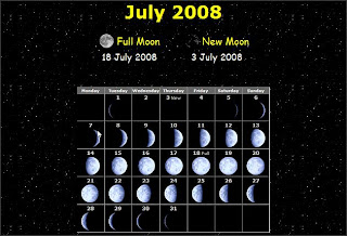Moon calendar July 2008