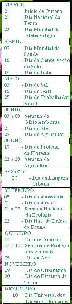 CALENDÁRIO ECOLÓGICO  2008