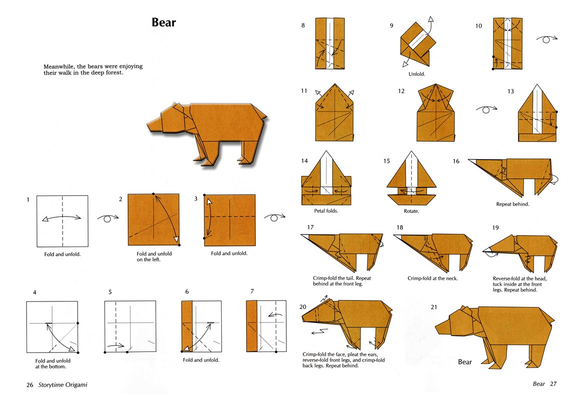 how to make origami bear