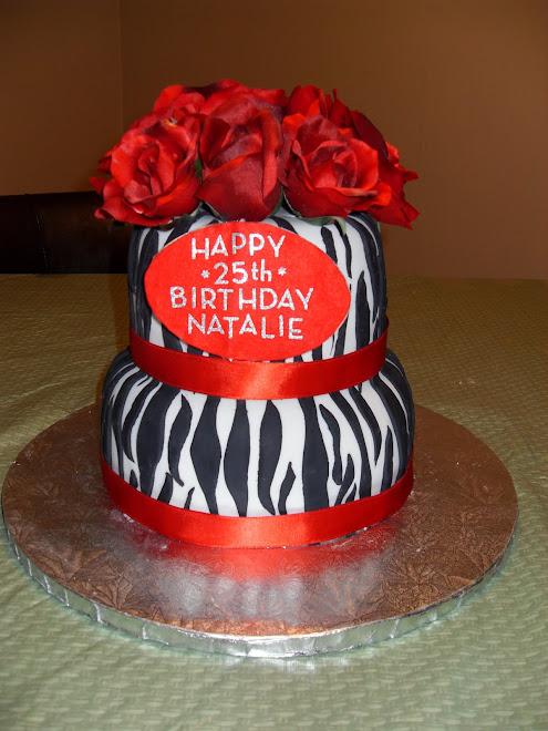 Floral / Zebra Print B-Day Cake