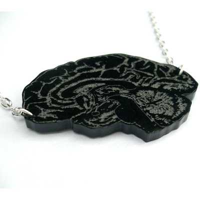 laser cut engraved brain necklace
