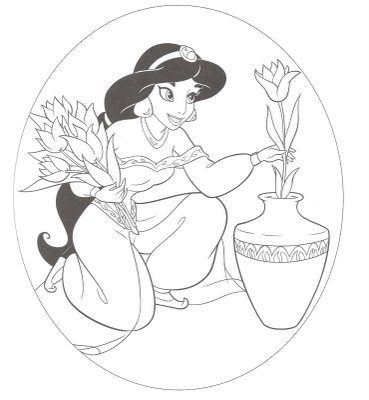 Disney princes coloring pages jasmine for Jasmine the princess coloring pages