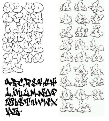 Abecedario Graffiti : Graffiti White Alphabet A-Z