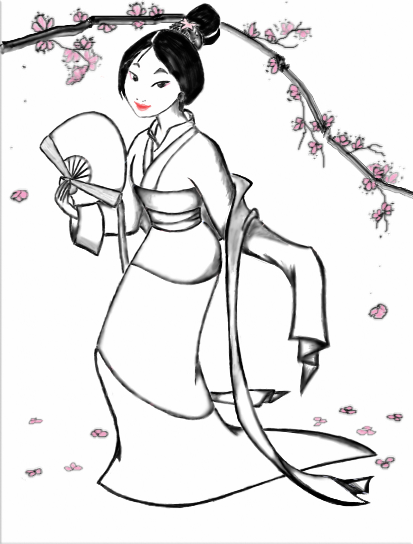 Coloring Pages Kids Disney Princess Mushu Mulan Mulan Coloring Page
