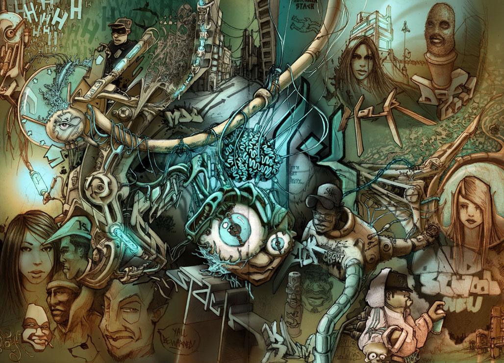 cool graffiti cartoon wallpaper for desktop