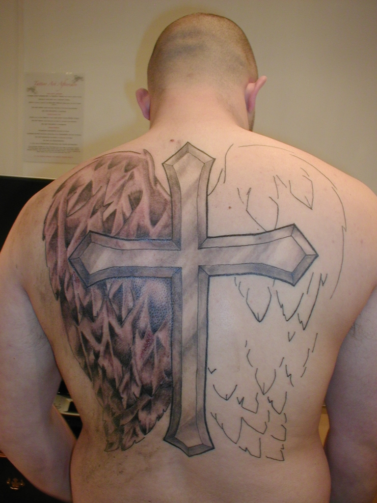 cross tattoos on back