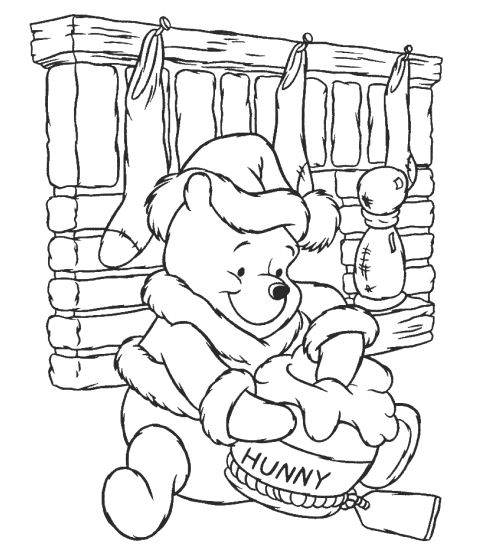 Disney Cartoon Winnie The Pooh Christmas Coloring Pages