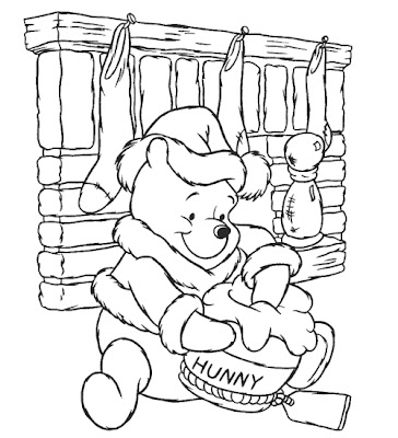 Disney Cartoon Winnie The Pooh Christmas Coloring Pages Christmast