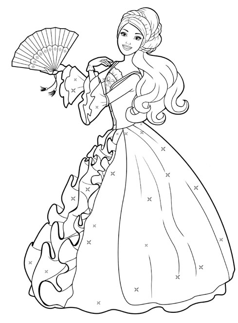 Disney Cartoon : Barbie Doll Princess Coloring Pages title=
