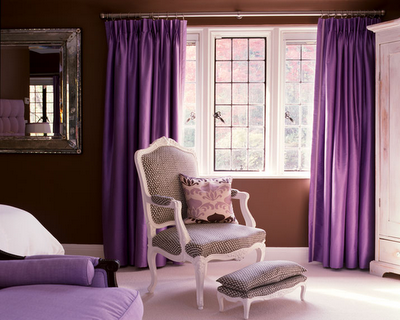 interior design bedroom purple color