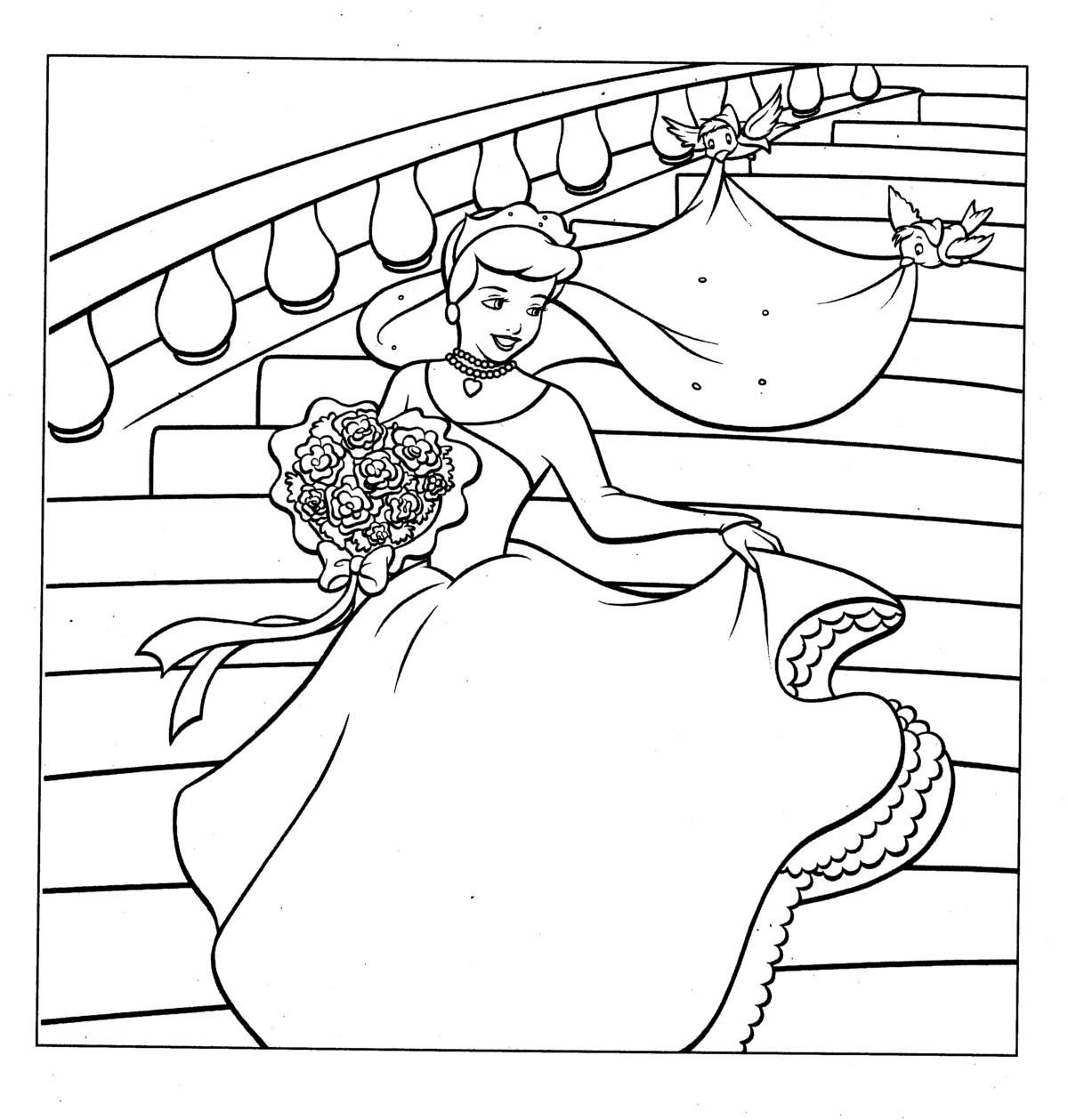 Halloween Coloring Pages: Disney Princess Cinderella and Her Gown ...