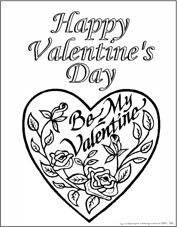 Kids coloring pages valentine day roses printable for Valentines days coloring pages
