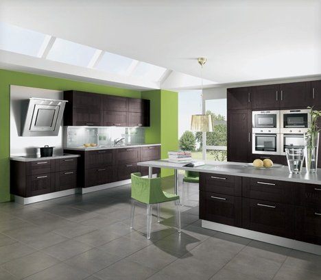 Home Interior Gallery: Luxury Fresh Green Kitchen Interior Design