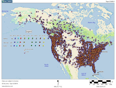map of sighting in United States