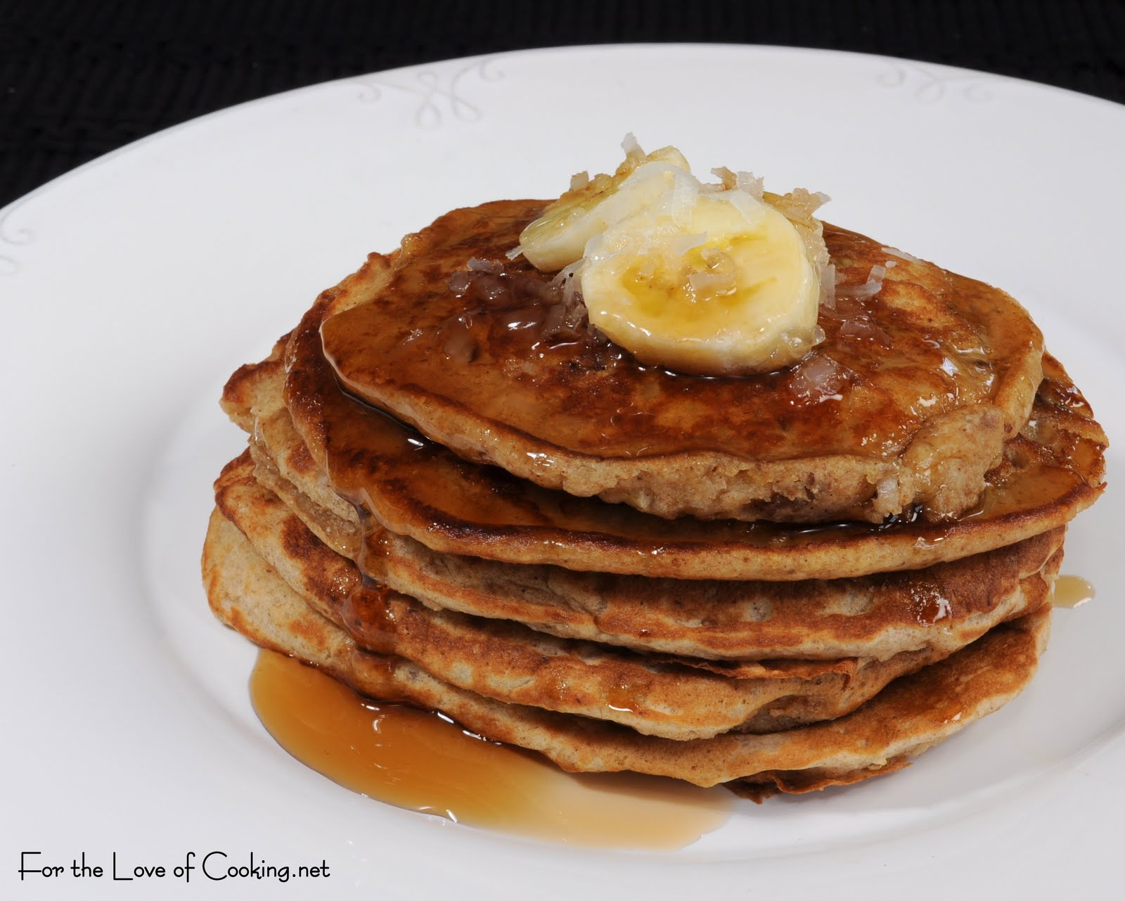 Banana Coconut Pecan Pancakes | For the Love of Cooking