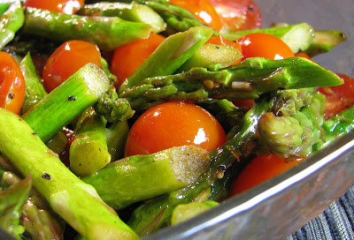 Roasted Asparagus and Cherry Tomatoes with a Balsamic Vinaigrette