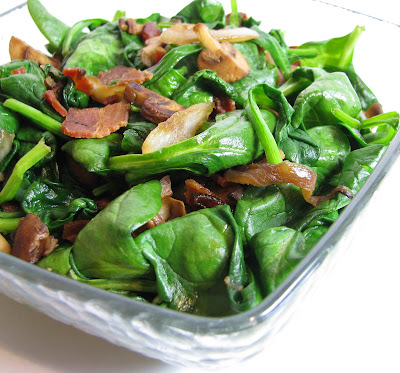 Spinach with Mushrooms, Onions and Bacon
