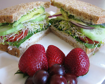 ... with fruits and vegetables i had some turkey low fat swiss cheese and