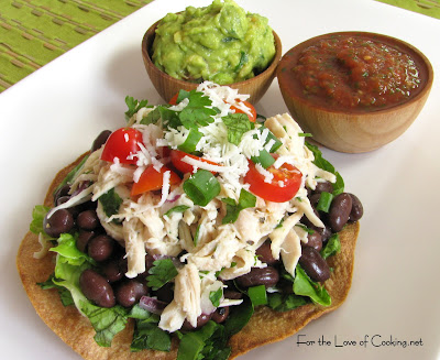 Shredded Chicken and Black Bean Tostadas