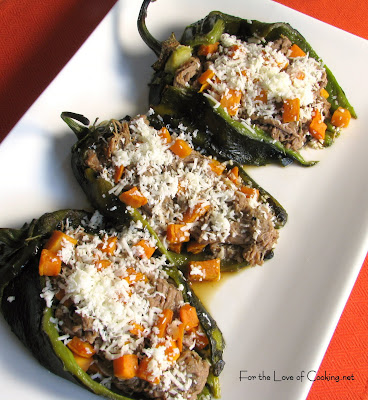 Shredded Beef and Sweet Potato Stuffed Chiles