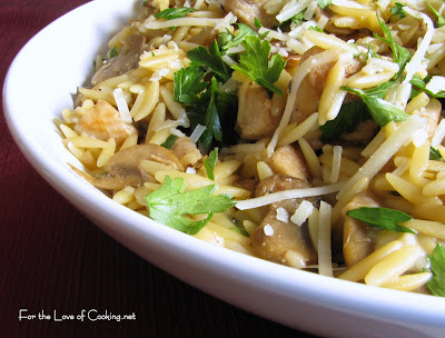 Chicken, Mushrooms and Parmesan with Orzo