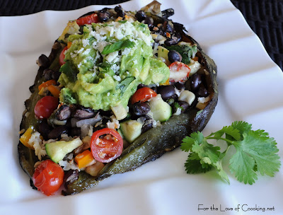 Stuffed Poblano Peppers With Black Beans and Tomatoes Recipe