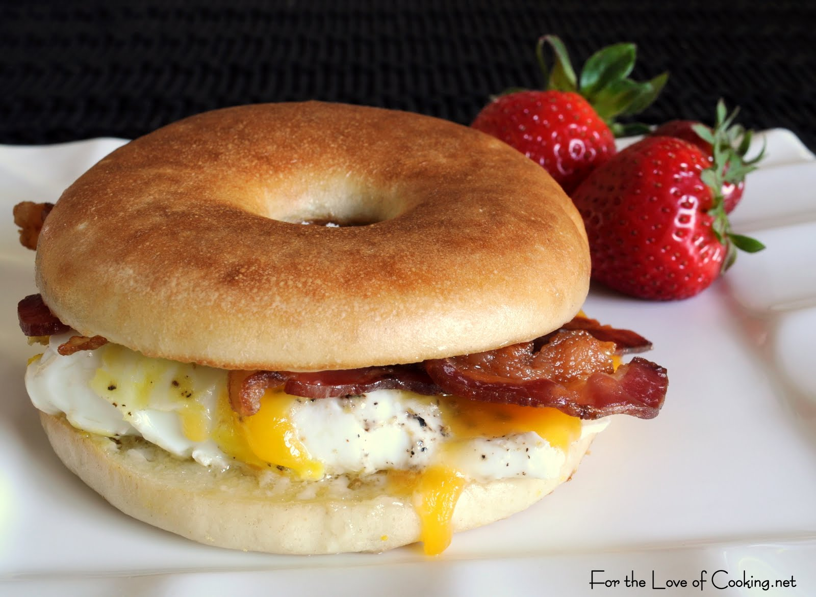 Bacon, Egg, Sharp Cheddar Bagel Sandwich For the Love of Cooking