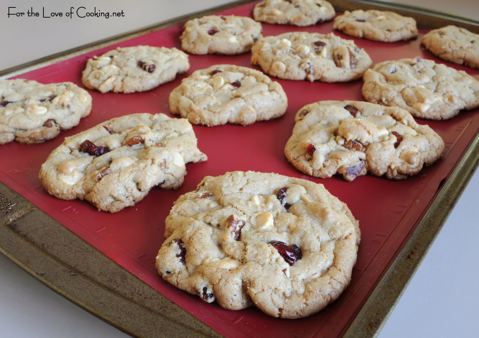 White Chocolate, Pecan, and Craisin Cookies | For the Love of Cooking