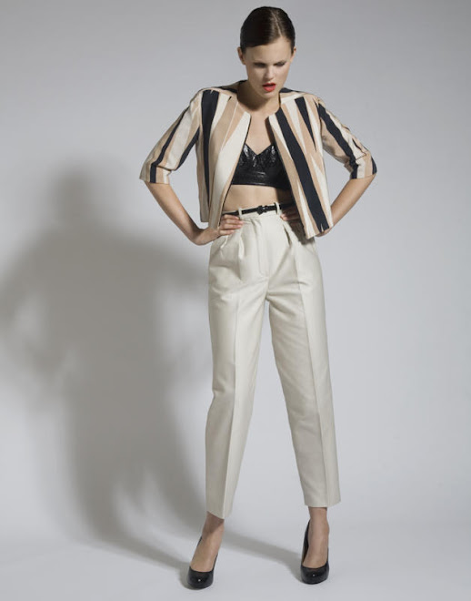 Silk Screen Crop Jacket, Leather Bra and Cotton Trousers