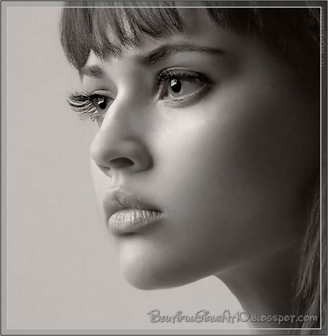 face portrait woman. And White Face Portraits.