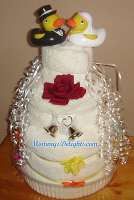 how to make a towel cake for bridal shower